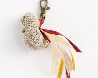Keychain: amigurumi bird