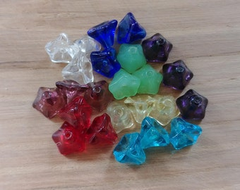 24 x Bell Shaped Glass Coloured Beads