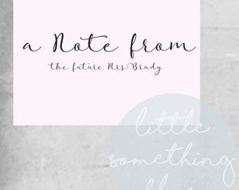 Future Mrs Note Cards Template // Note Card // Mrs // Pink // Digital Template // Printable