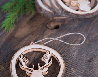 Christmas ornaments, Rustic wood Christmas decorations, Wood antlers, handmade rustic Christmas gift, house decor, Woodland Christmas decor