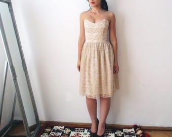 Lace bridesmaid Dress, Autumn, Reception dress, Wedding dress, Bridesmaid dress, beige lace dress, lace dress, elegant cream lace dress
