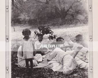 Picnic Photo . Antique Photograph . Family . Digital Download . High Resolution Scan