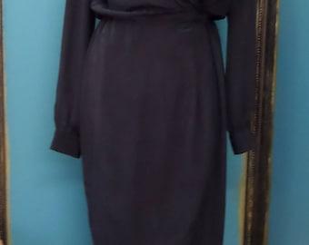 1980s Vintage Gorgeous Wrap Around Dress Black Silk Liz Claiborne Size 6