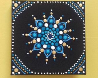 Wall Art , Blue & Metallic Gold Mandala, original art, acrylic on canvas, hippy, boho, eastern art, gift , original painting
