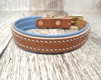 Lined Classic Buckle Leather Dog Collar - 3/4'' (medium)