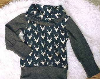 Grow with me children's sweater, cowl sweater for kids, bucks, deer, stretchy sweater, woodland, grey, blue, cotton lycra, grow fonder
