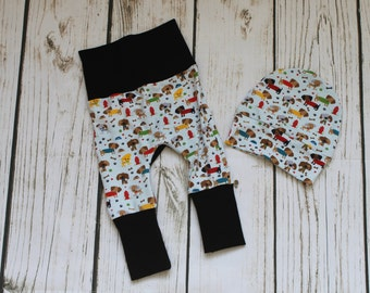 Newborn Grow with me Pants and hat, Miniloones, cloth diaper pants, bum circle, stretch baby pants, dog print
