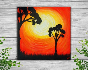 """African Sunset Trees Small Painting Canvas Art Original Acrylic Painting on Small Canvas 20x20 cm (8""""x8"""") Wall Art Gift Ideas Ready to Hang"""