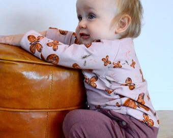 Grow with me Romper Unisex baby kid clothing Coco Dandelion Butterflies butterfly pink automn handmade in canada bamboo