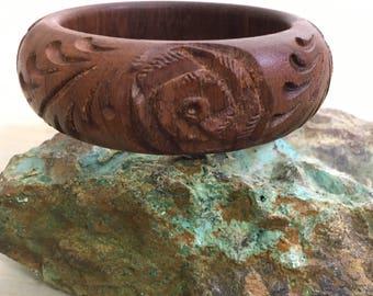 Floral Carved Solid Wood Bangle | Carved Rose Wood Bracelet | Chunky Boho Carved Wood Bangle