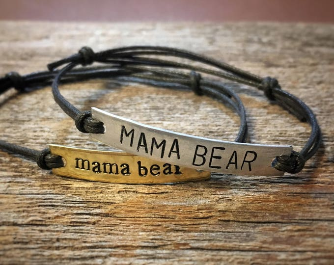 Featured listing image: Mama Bear bar bracelet | or CUSTOM bracelet | boho bracelet | quote bracelet | simple bracelet | hippie bracelet | best friend gift