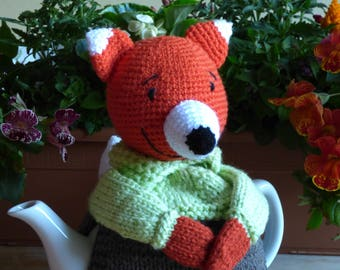 MR FOX teapot cosy/ Knitted teapot cosy/ Fox teapot cosy/ Handmade teapot cozy/ Animal teapot cosy / Fox