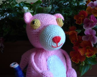 Pink Panther teapot cosy/ Knitted teapot cosy/ Cat teapot cosy/ Handmade teapot cozy/ Animal teapot cosy / Panther /Pink panther