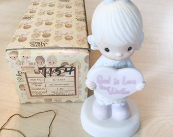 Vintage Precious Moments God Is Love  Dear Valentine Figurine  E-7154