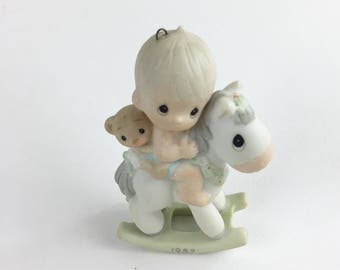 Vintage Precious Moments Baby's First Christmas Special 1987 Issue Miniature Ornament Figurine 109428