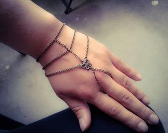 Bohemian Slave Bracelet Caged Hand Chain Antique Brass Hand Chain Bohemian Hand Chain Slave Bracelet Caged Hand Chain