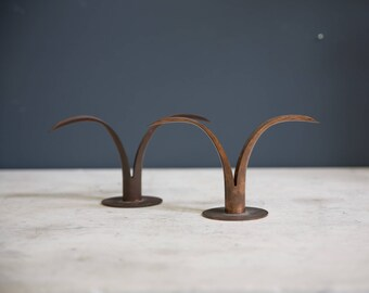 Pair of Mid Century Modern Copper Candle Holders