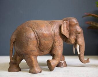Vintage Hand Carved Wooden Elephant