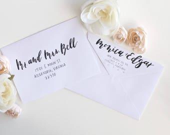 Custom Calligraphy Envelope addressing, Sobre invitaciones de Boda