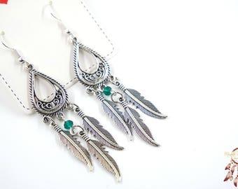 Chandelier earrings | feather earrings, bohemian, silver earrings, gift for her, boho, festival, boho chic, minimalist earrings, summer, bff