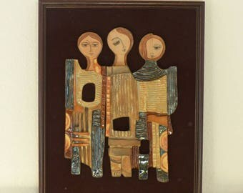 Ceramic Tiles in wooden frame from artist Ruth Faktor from Israel, Vintage,52x42cm