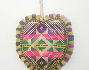 Vintage Tribal Wicker Fan // Home Decor Coloured Wall Hanging Piece