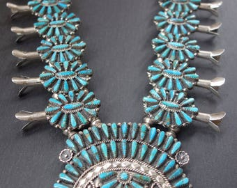 Squash blossom necklace. 211 grams, Tommy Lowe, Sterling and possibly Kingman Turquoise. Incredible!
