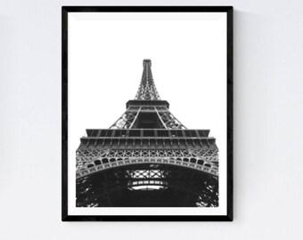Eiffel Tower poster, Eiffel Tower print, Paris landmark, Paris architecture, Eiffel Tower photo, Eiffel Tower decor, Eiffel black and white