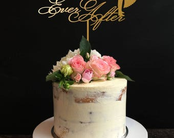 Wedding Cake Topper ,Happy Ever After Cake topper, Gold Cake Topper