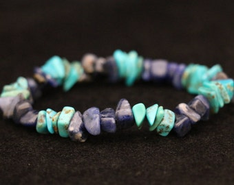 No. 2 Sodalite and Turquoise Chip Bracelet (Handmade)