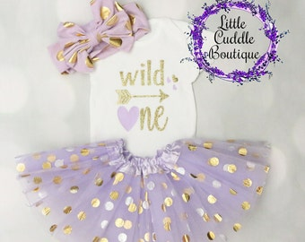 Wild One First Birthday Outfit, Girl First Birthday Outfit, Wild One Outfit, Lavender Birthday Outfit, Lavender Tutu, Wild One Onesie, Girl