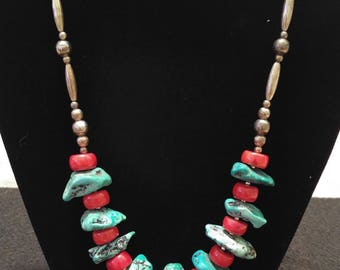 Turquoise, Coral, and Silver Necklace