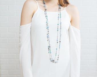 Khiara Beaded Necklace   Turquoise
