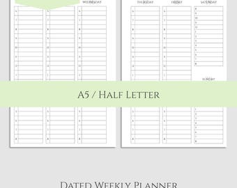 "2018 Dated Weekly Printable Planner Inserts, WO2P, Two Page Vertical Hourly Layout ~ A5 / 5.5"" x 8.5"" Instant Download (WVH)"