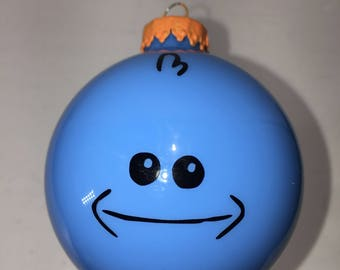 Rick and Morty Mr Meeseeks Hand Made Glass Ball Christmas Ornament - Holiday tree decoration Happy Mr Meeseeks