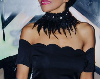 Handmade knitted black feather collar with crystals