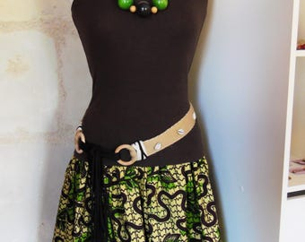 "Ample short skirt - Waistband - Ethnic / Tribal / Boho / Nature - pattern ""Leaves"" - dark brown Wax cotton / green / Pale yellow"