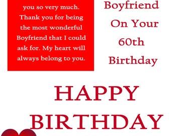 Boyfriend 60 Birthday Card with removable laminate