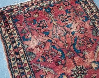 vintage persian rug/Persian Lilihan rug/antique persian rugs/lilihan rugs/worn rugs/antique rug/pink rugs/pink persian rugs/distressed rugs