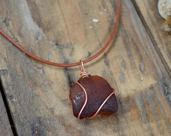 Scottish Sea Glass Pendant, Brown Sea Glass Necklace, Copper Wired Pendant, Gifts for Her, Beach Chic, Rustic Necklace, Pendants