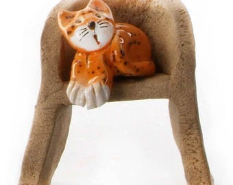 Ginger Cat | White Cat with Patches sitting on Armchair | Gift for a Cat Lover | Quirky Gift or Home Deco | Beautifully Hand Made Ceramic