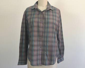 Muted Plaid Basic Button Down Lightweight Long Sleeve Top