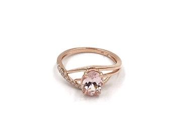 Size 6.5 - 14k rose gold diamond morganite ring