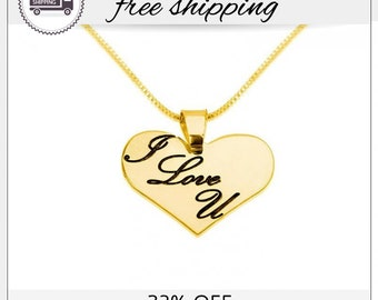 23% Off -  I Love You Necklace, Heart Necklaces, Love Necklace, Gift For Her, Girlfriend Gift, Anniversary Necklace, Valentine's Day