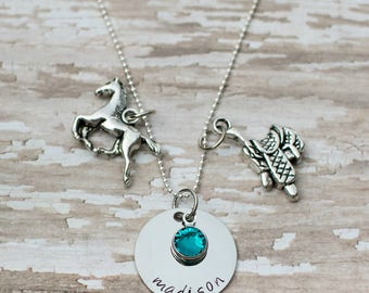 Personalized hand stamped horseback riding necklace - gift for horse lover- stainless steel necklace for rider - birthstone necklace