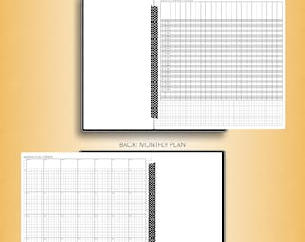 Foldout MONTHLY planner 2018 printable inserts #F-M-MTR (standard travelers notebook, midori insert regular, tn inserts)