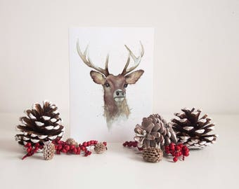 Watercolour Deer   Christmas Card