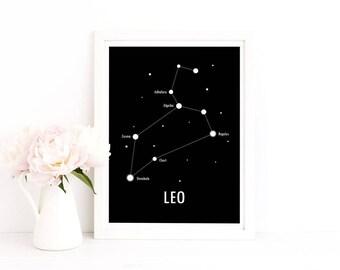 Leo Poster / Constellation Poster / Star Sign / Zodiac Print / Scandinavian Art / Modern Poster
