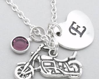 Motorbike necklace with heart initial | motorbike jewellery | motorbike pendant | motorcycle necklace | personalised motorbike gift