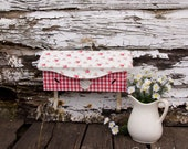 Vintage Mail Box - Metal - Gingham and Floral with Fleur de lis - Coat Towel Key hook Holder - Wall Mount Hinged Lid